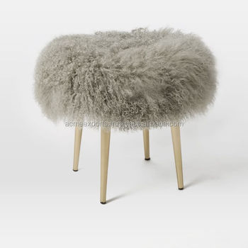 Mongolian Sheepskin Faux Stool With Lambs Wool