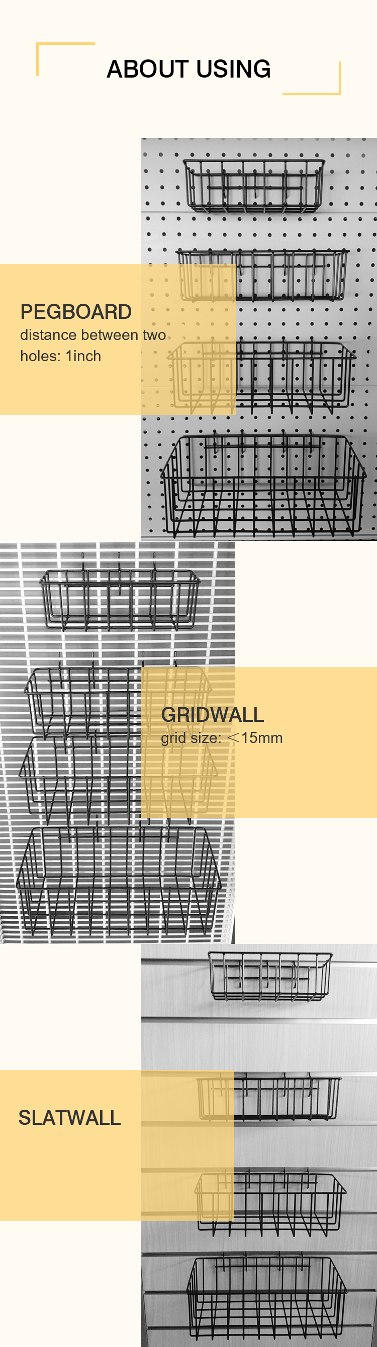 Wire Baskets for Gridwall/Slatwall/Pegboard