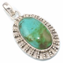 Amazing Oval Shape Green Turquoise 925 Sterling Silver Pendant, Silver Jewelry, Gemstone Silver Jewelry