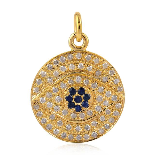 14kt Yellow Gold Pave Diamond Evil Eye Sapphire Designer Pendants Jewelry Supplies Wholesale