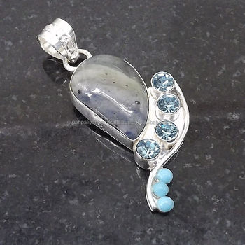 Blue Turquoise Pendant plated 925 Sterling Silver 12 Gms 2.25 Inches