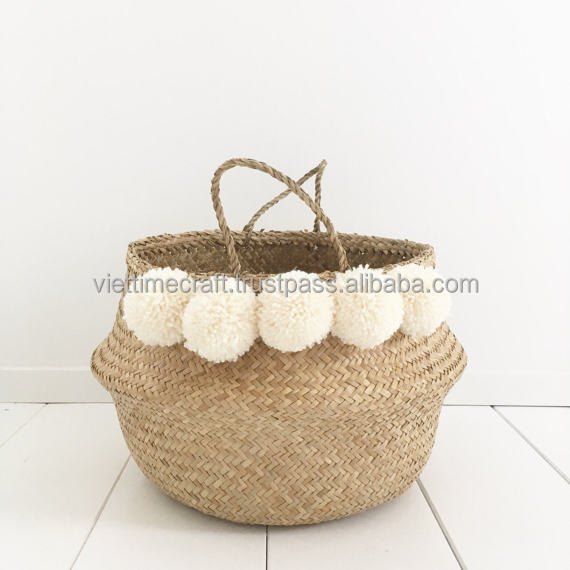 Folding seagrass basket with white pompom/ seagrass folding basket set