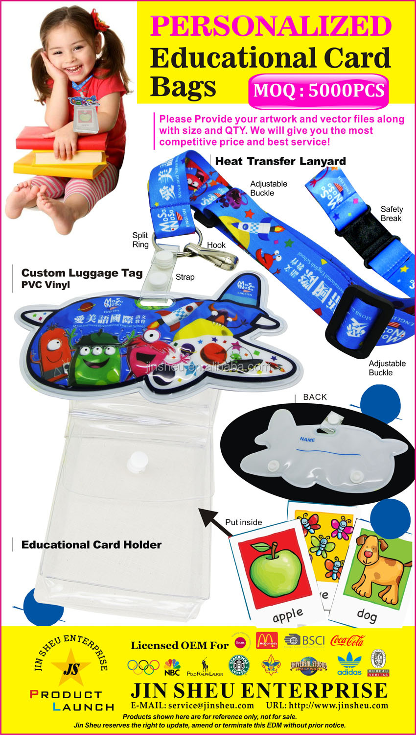 PVC vinyl badge kids study game visual support card lanyard