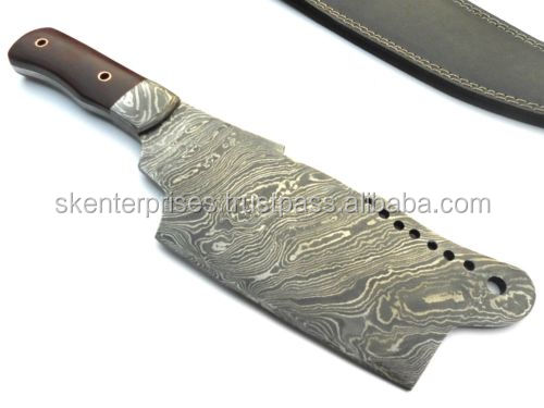 Hand made Damascus Steel Chopper With Micarta Sheet and Damascus Bolsters Handle SK-230