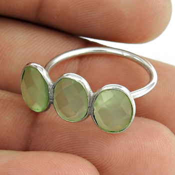 Chalcedony gemstone ring 925 sterling silver wholesale jewelry fine sterling silver rings exporters