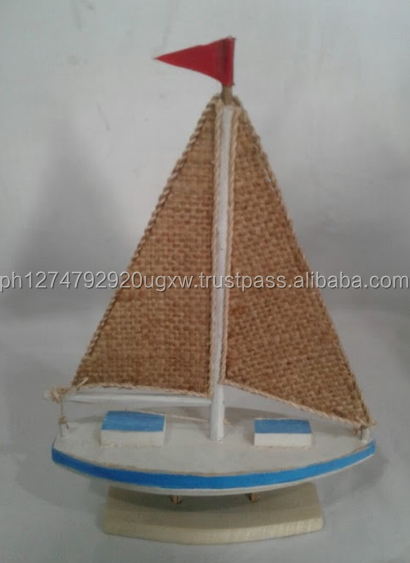 Miniature Driftwood Boat with Burlap as sail , available in wholesale