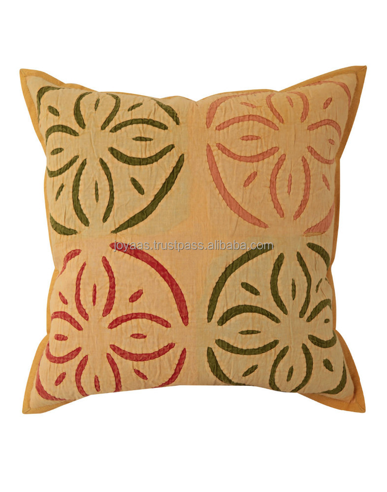 Handmade 100% Cotton Applique Work Square Cushion Cover
