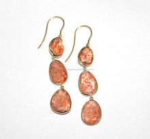 Faceted sun stone 14ct gold hook dangler earrings - Faceted sun stone earrings