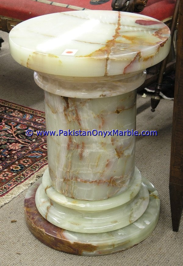 CUSTOM DESIGN LIGHT GREEN ONYX PEDESTALS COLLECTIONS