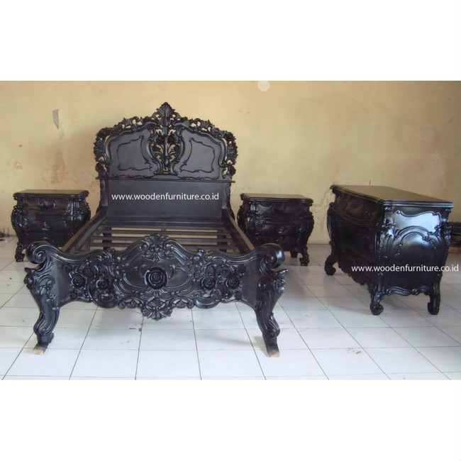 Rococo Bed Set Vintage Wooden Bed Antique Reproduction Furniture French Provincial Bedroom European Style Home Furniture