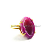 Fabulous Natural Geode Halve Druzy 24k Gold Plated Adjustable Pink Color Gemstone Jewelry Wholesale Ring