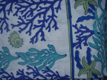 white and blue colour Cotton Hand Block Printed Floral Sanganeri Jaipuri Fabric