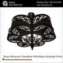 Brass Moroccan Chandelier With Black Oxidized Finish