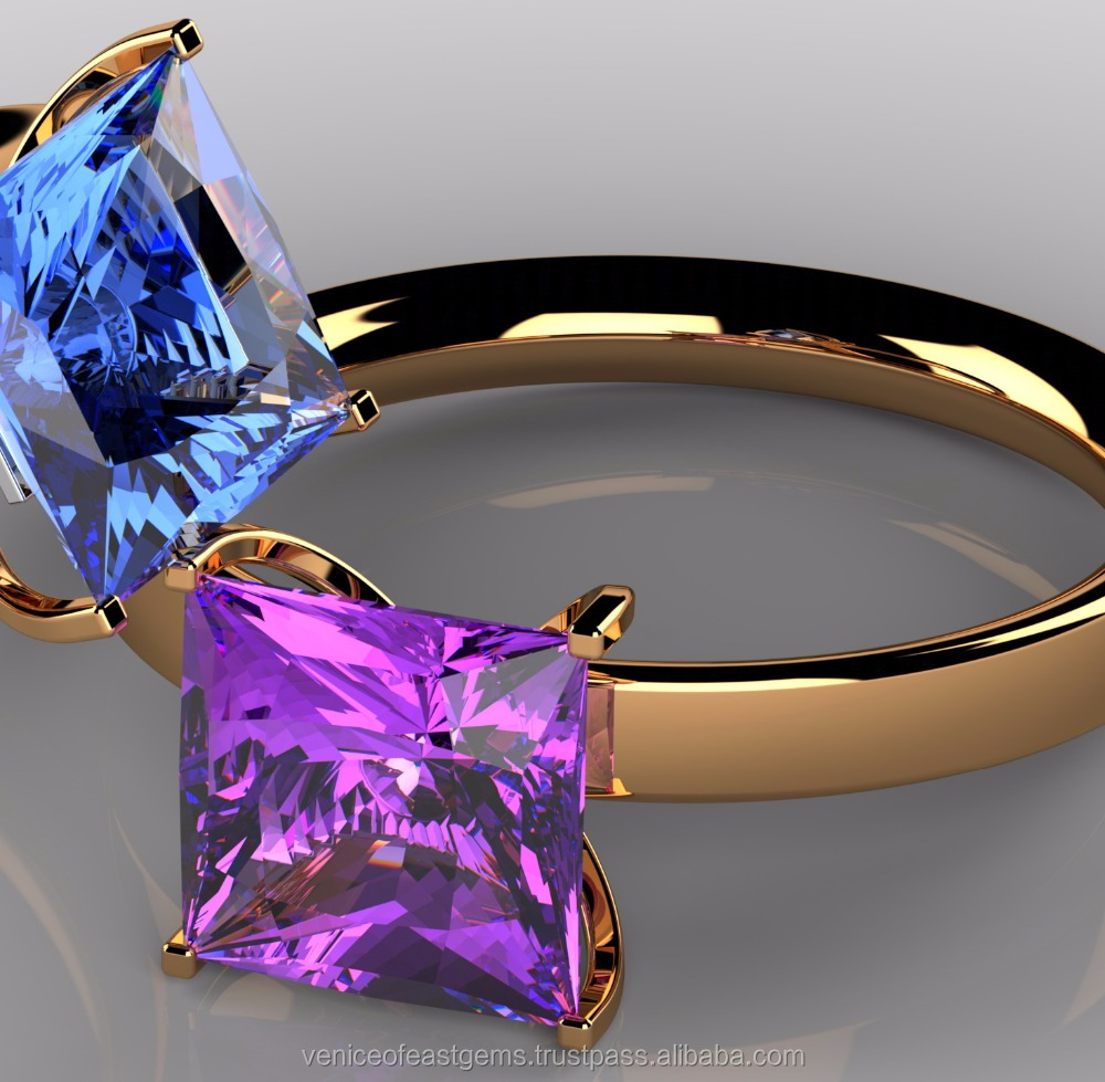 14K, 18K Yellow Gold or white gold or Rose Gold comes with Beautiful Princess cut Beautiful Amethyst