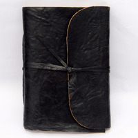 Handmade black personalized secret notebook with strap beautiful leather cover diary