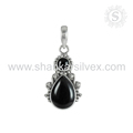 Black onyx gemstone pendant 925 sterling silver pendants jewelry supplier online