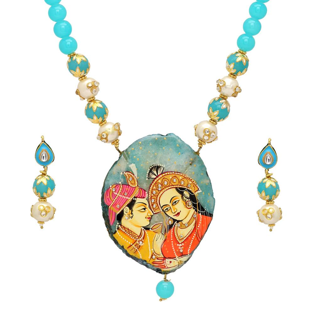 Jaipur Mart Gold Plated Aqua Color Colored Glass Stone, Color Beads, Pearl Necklaces With Earrings