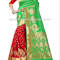 Women's Embellished Woven Art Silk Green & Red Designer Saree for Women