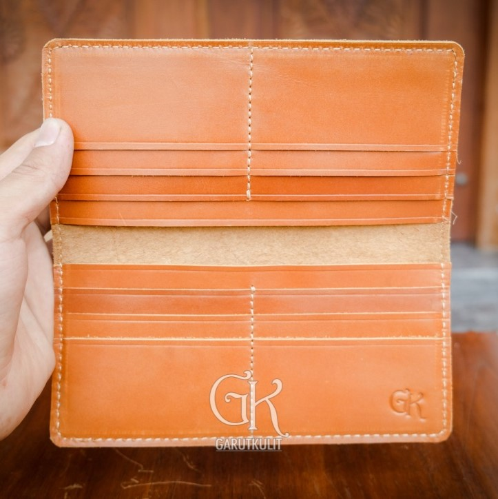 100% genuine leather vintage long wallet