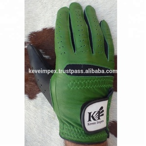 Green and Black Color Super Soft Sheep Skin Leather Golf Gloves