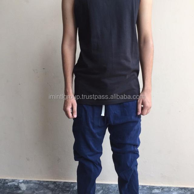 2017 high fashion men gym wear black tank top and cotton trouser set