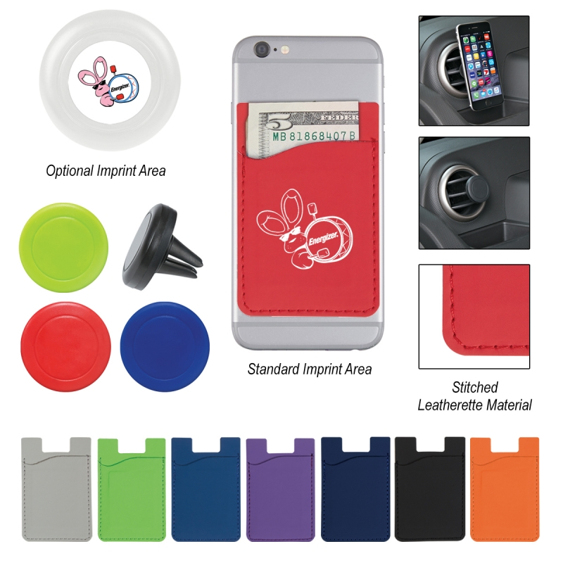Magnetic Auto Air Vent Phone Wallet - polyurethane wallet includes magnetic plate to adhere to mount and comes with your logo