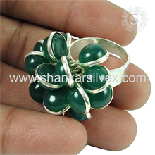 Rondelle beads green onyx gemstone stylish ring 925 sterling silver jewelry wholesaler