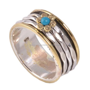 Wholesale 925 sterling silver handmade turquoise wedding spinner ring supplier