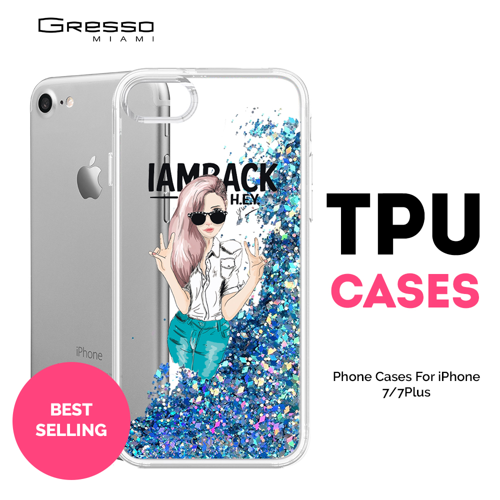 Best Selling Plating Phone Case for iPhone X 8 Plus with Fashion Custom Design Printing and Liquid Glitter Wholesale OEM
