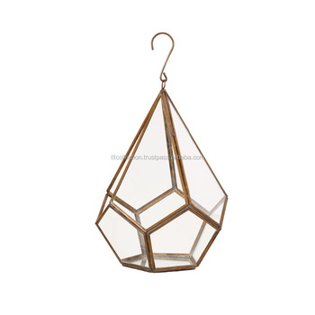 Crystal transparent glass+copper metal frame hanging glass terrarium lovely ball shape cactus glass terrarium geometric