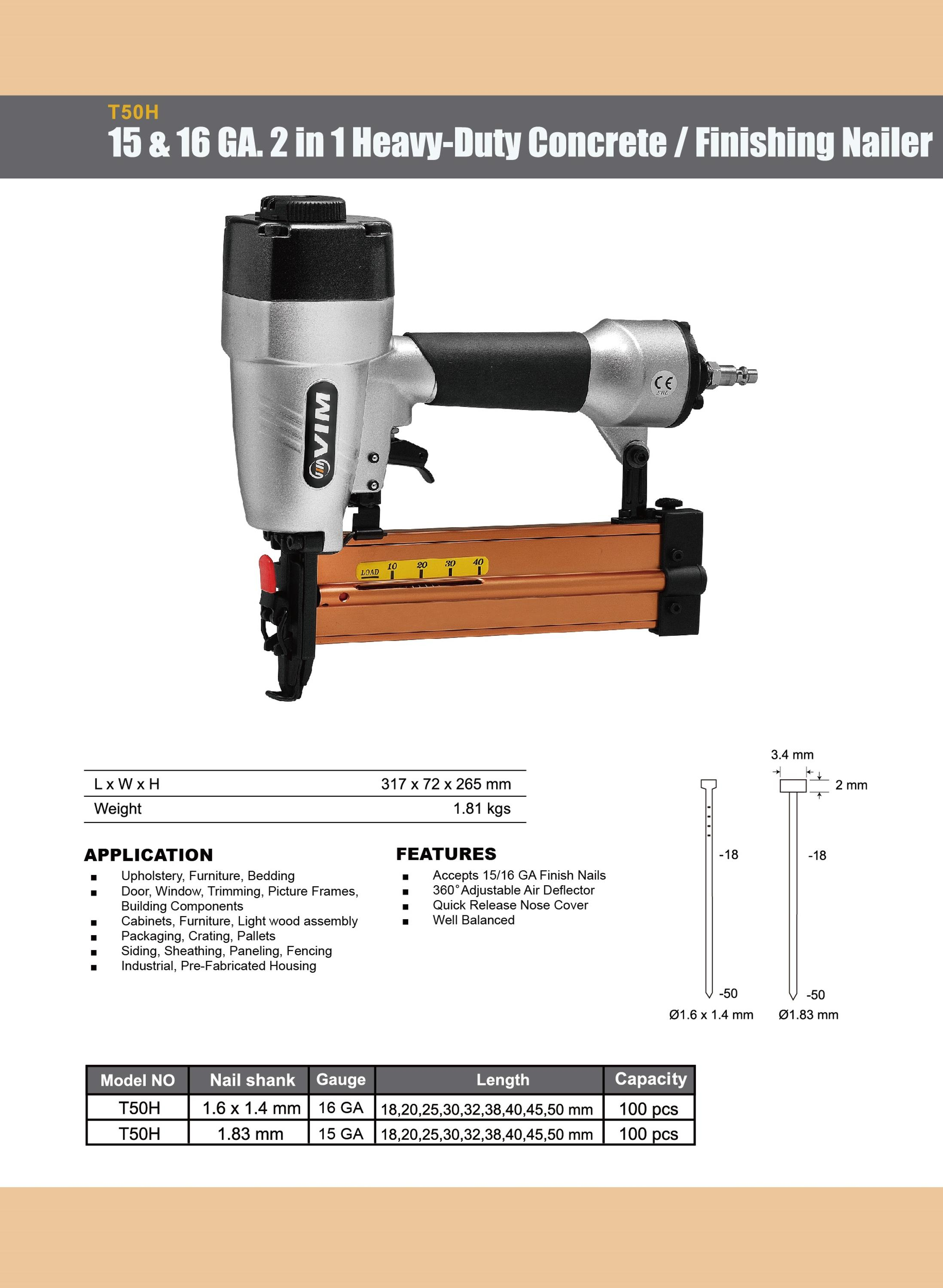15 & 16 Gauge 2 in 1 Concrete & Finishing Nailer