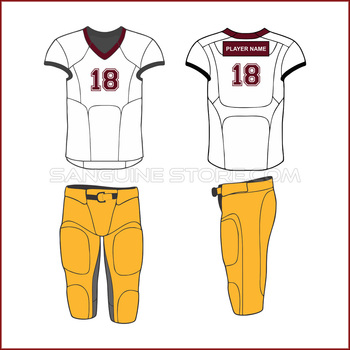 White jersey and yellow shorts for american football