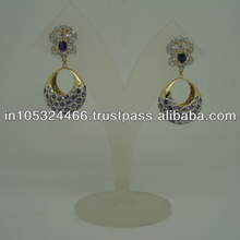 CZ Amethyst Embedded Gold Plated Fashion Earring 2013