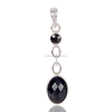 Latest Design 2017 Handcrafted Natural Black Onyx Gemstone 925 Silver Drop Pendant Jewellery