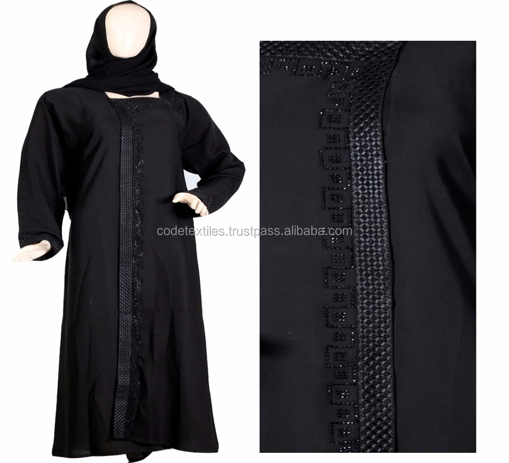 2018 Beautiful Black Full Sleeve Stone Work Kaftan Abaya