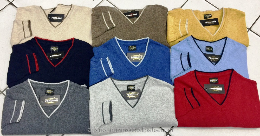 Men's plain sweaters (V neck, regularfit)