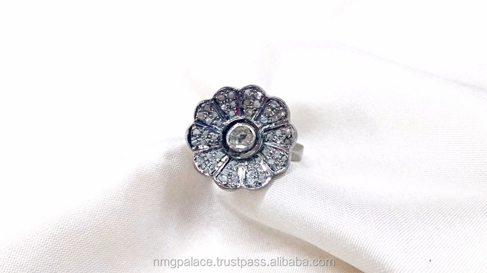 flower shape rhodium plated real diamond 925 silver ring price