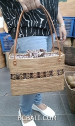 hand woven handbag with coco wood leather handle long handle