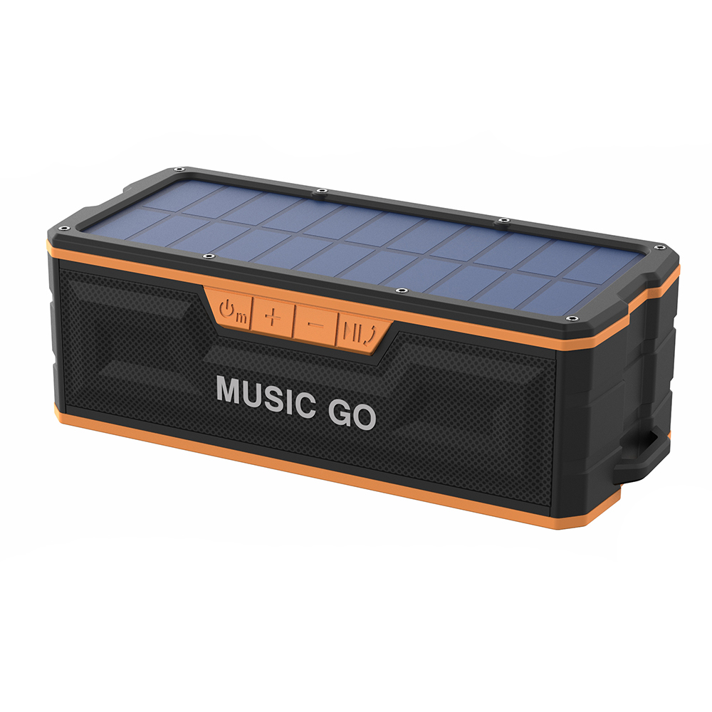 Solar panel powered portable waterproof bluetooth speaker
