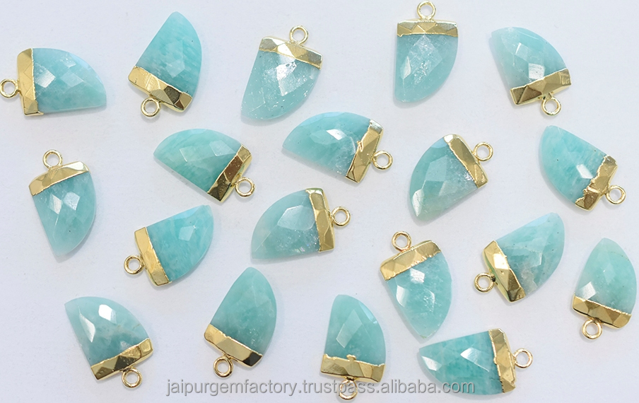 Amazonite 18-20 MM Long 20K Gold Electroplated Nail or Horn Shape Finding or Pendant.