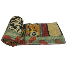 Vintage Kantha Quilts Reversible Floral Throw Blanket Indian Handmade wholesale Vintage Kantha Quilts