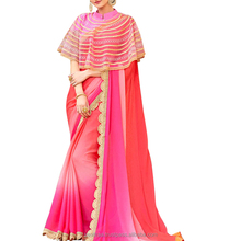 Shaded Pink Colored Chiffon Georgette Saree With Net Cap