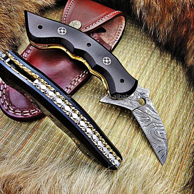 Custom Handmade Damascus Folding Knife with Micarta Sheet Handle