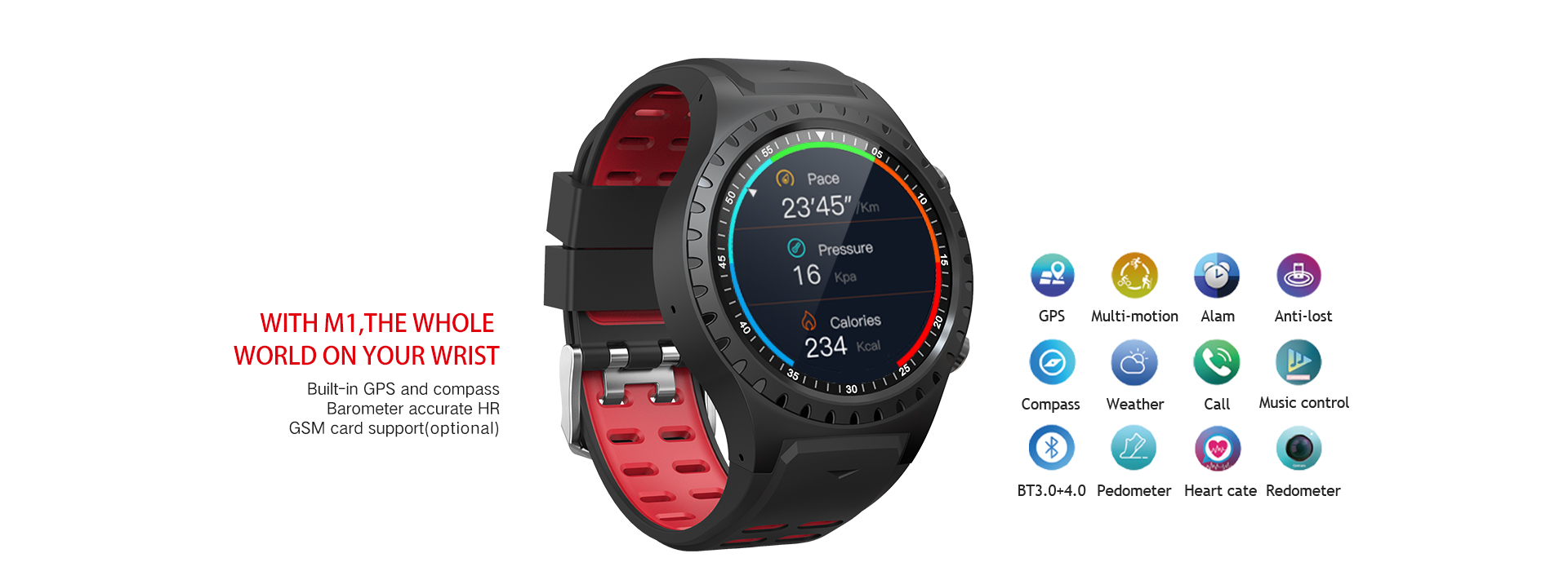 GPS smart watch with pedometer BT3.0+4.0 message heart rate monitor and remote capture for 2019