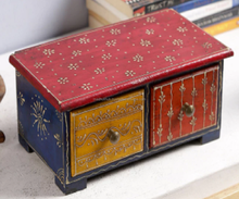 Vintage Look Small Multi Color Wall Mount Wooden Small Drawers Indian Jodhpuri Hand Painted Piece