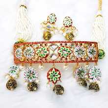 Statement stylish fine quality hand painted handmade kundan Choker with earrings wholesale manufacturer