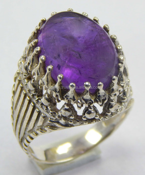 Natural Amethyst size 8 US 925 Sterling Silver fashionable ring