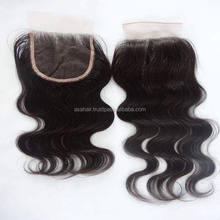Lace closure Brazilian human hair body wave top quality virgin silk base, Lace closure