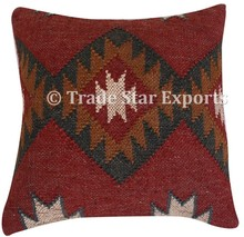 Jute rug fabric vintage hand woven sofa kilim cushion cover