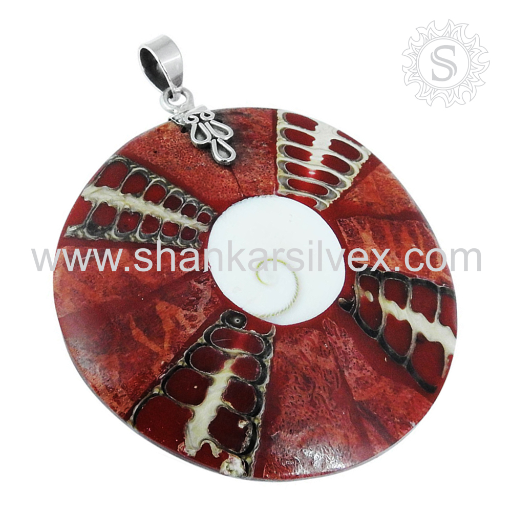 Tribal silver pendant 925 sterling shell gemstone silver jewelry wholesale jewellery supplier